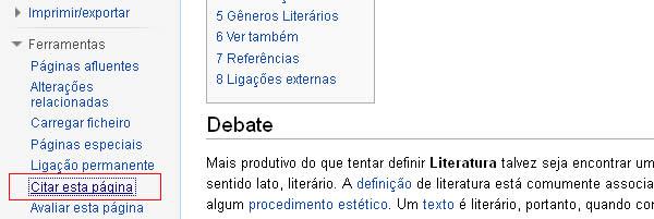 Link para modelos de citações da Wikipedia