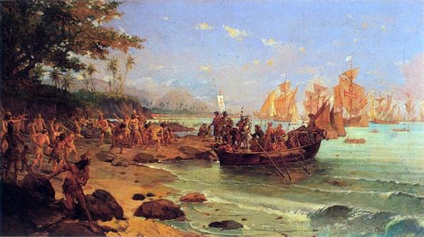 Pintura de Oscar Pereira da Silva: Quinhentismo no Brasil - Desembarque de Pedro Álvares Cabral em Porto Seguro em 1500