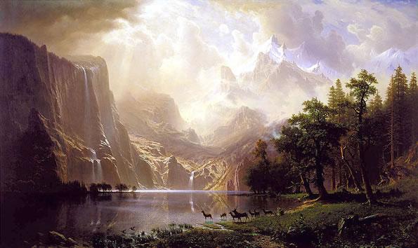 Pintura do Romantismo - Bierstadt: Entre as montanhas da Sierra Nevada