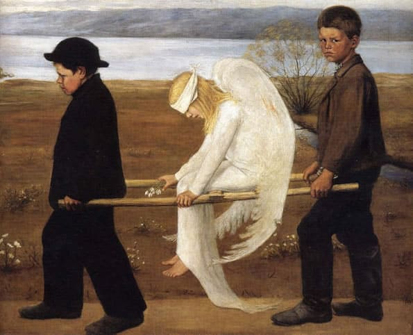 Pintura do Simbolismo - O Anjo ferido, de Hugo Simberg