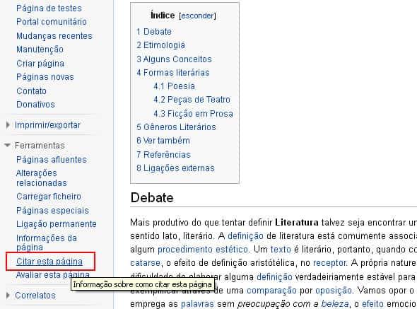 Citar esta página, ferramenta da Wikipedia