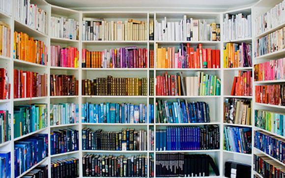 Estante de livros organizada por cores: capaz azuis abaixo e cores quentes acima