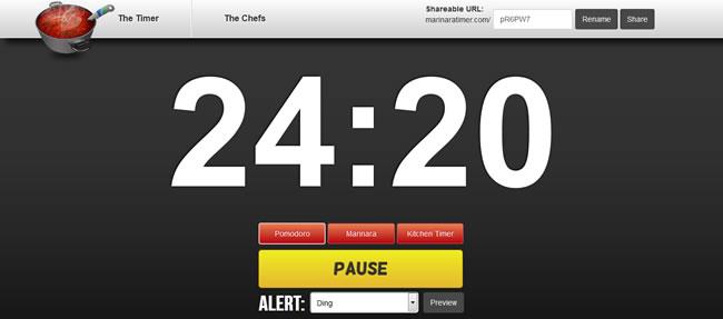 Personalize o tempo de cada Pomodoro na Opção Marinara - Captura de Tela do site MarinaraTimer.com
