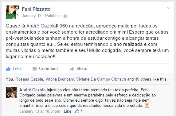 Fabiane Pizzatto - 960 na prova de Redação do ENEM 2014